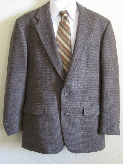 100% Wool Mens Sport Coat Jacket 42L Brown Tweed
