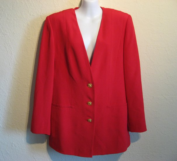Peter Nygard Signature Womens Red Silk Jacket Blazer 6