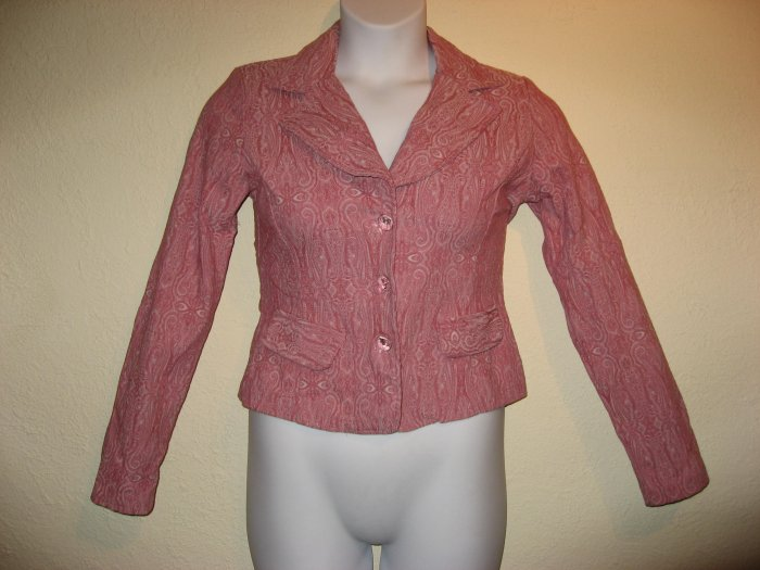 Gorgeous Womens Rose Pink Paisley Jacket Blazer Medium/Large