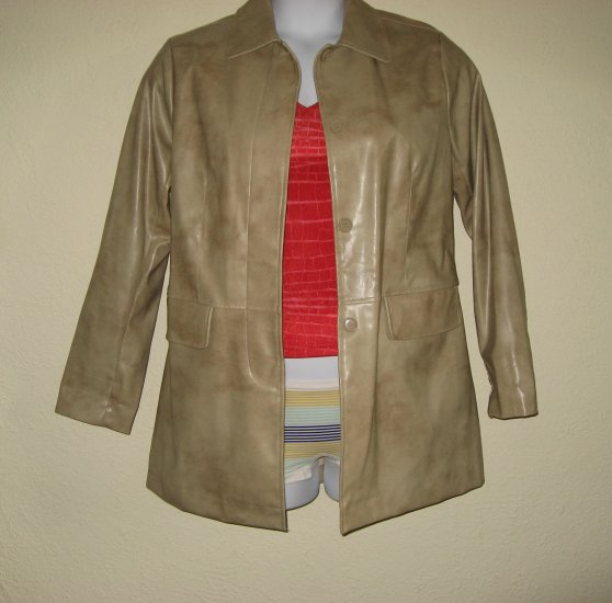 WET SEAL Womens Tan Jacket Spring Coat M/L Vegan Vinyl