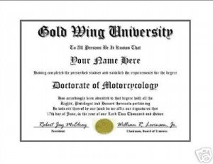 Diploma for Honda GOLD WING motorcycle owner