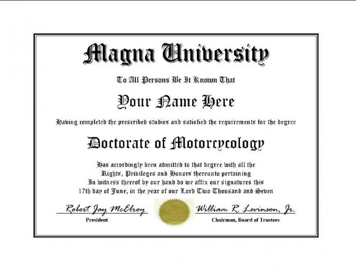 Diploma for Honda MAGNA motorcycle owner