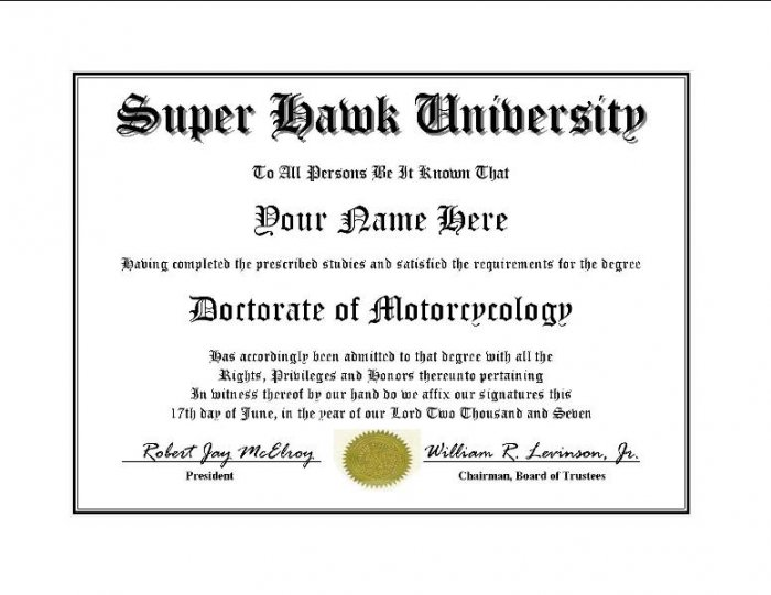 Diploma for Honda SUPER HAWK motorcycle owner