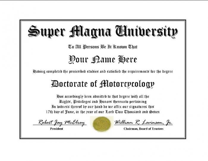 Diploma for Honda SUPER MAGNA motorcycle owner