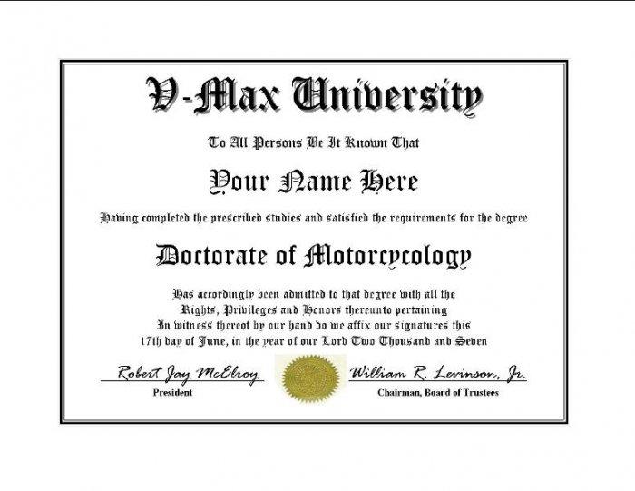 Diploma for Yamaha V MAX motorcycle owner