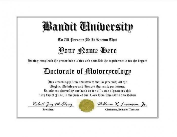 Diploma for Suzuki BANDIT motorcycle owner