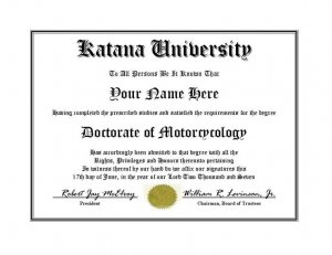 Diploma for Suzuki KATANA motorcycle owner