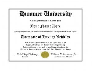 Diploma for Hummer luxury vehicle owner
