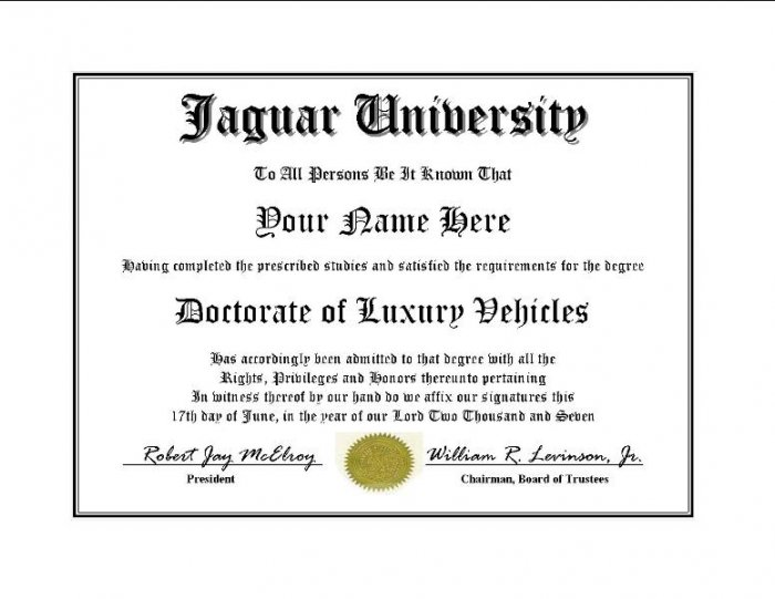 Diploma for Jaguar luxury vehicle owner