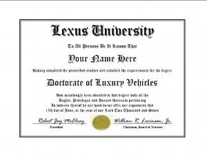 Diploma for Lexus luxury vehicle owner