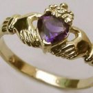 9ct Yellow Gold Claddagh Ring - Amethyst size 7 1/2