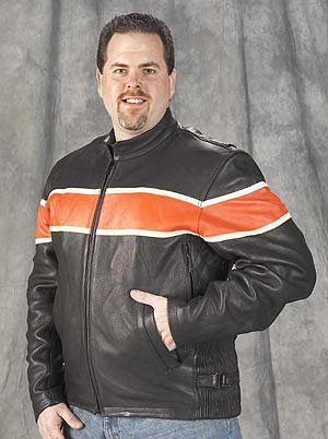 Mens Vented Leather Motorcycle Jacket with Orange Race Stripe