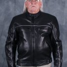 Men Leather Motorcycle Jacket with Piping & Armor