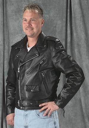 Mens Basic Leather BikerJacket with Sidelace