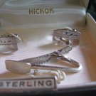 SALE** Vintage Hickok Sterling Cufflinks and Tie Clip in Original Box