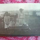 SALE** Vintage Photographic Postcard- 4 girls and a wagon