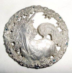 Rawcliffe Pewter Unicorn Green Crystal Mystical Fantasy