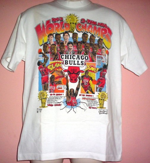 VintageChicago Bulls tee shirt cartoon style 1993 NBA champs Large L