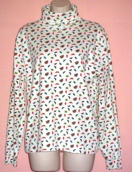 Woman turtleneck jersey top cotton Orvis Medium M
