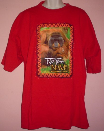 Rain Forest tee shirt Orangutan NO TREE NO ME 100% cotton Alore tee Made in USA 2XL
