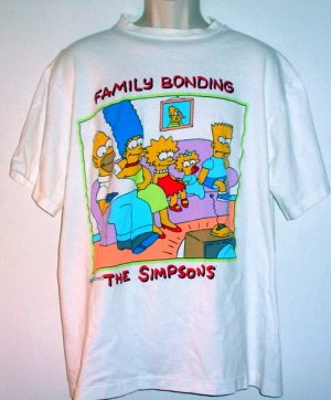 Simpsons cartoon family bonding tee shirt  cotton XL