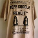 New College fight tee shirt BEER GOGGLES vs REALITY cotton Triple A tee XL