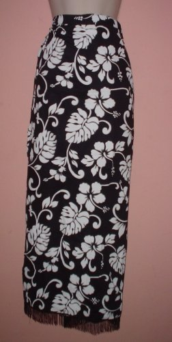 Authentic Indonesia sarong beach wrap skirt fringed floral pattern Rayon One size fits all