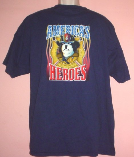 Big Dog tee shirt Americas Heroes Tribute to firefighters. XXL