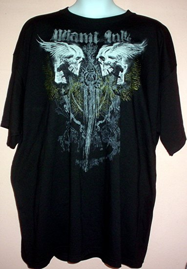 Tattoo tee shirt WINGED LAUGHING  SKULLS SACRED DAGGER Goth Miami Ink 6XL Tall