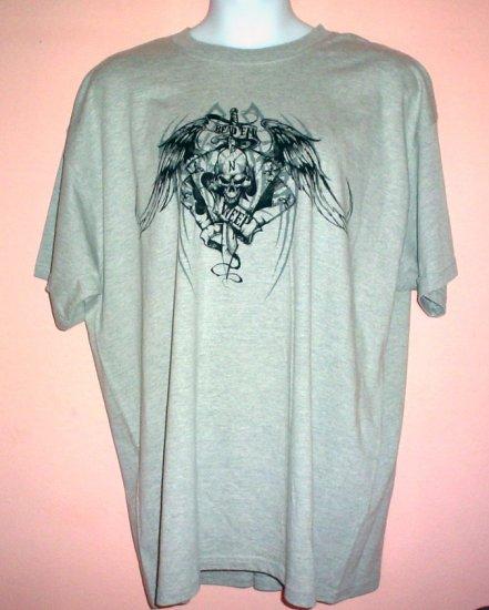 Tattoo tee shirt READ EM N WEEP 2XL Tall Winged skull dagger four aces poker Goth