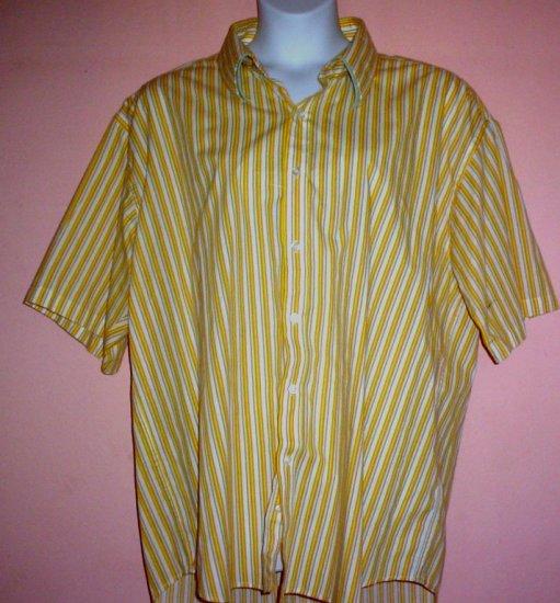 Mans shirt Celebrity wrinkle free short sleeve striped 55% cotton 45% polyester Size 3XL