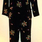 Vintage silk pants suit Private Island Exclusive for Saks Fifth Avenue Persimmon print Size 8