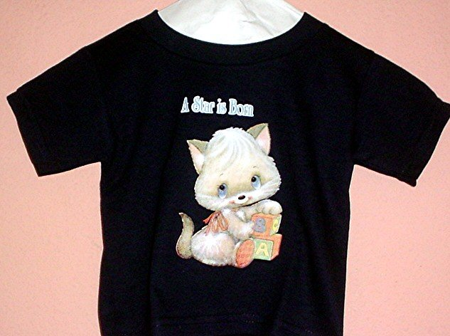 Toddler tee shirt A STAR IS BORN Kitten Size 2T Black cotton top quality tee