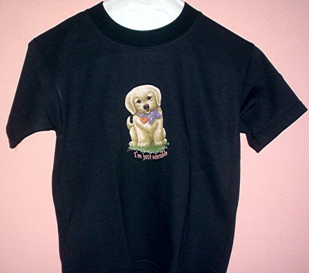 Toddler tee shirt Size 4T I'M JUST ADORABLE Puppy  Black cotton top quality