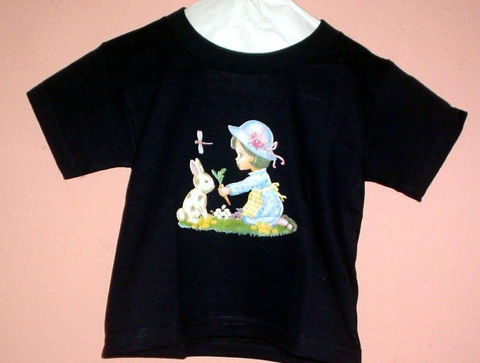 Toddlers tee shirt 2T GIRL AND BUNNY RABBIT  Black cotton Top quality