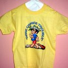 Childrens tee shirt Size 2 - 4 HERE COMES TROUBLE Boy Yellow cotton Top quality