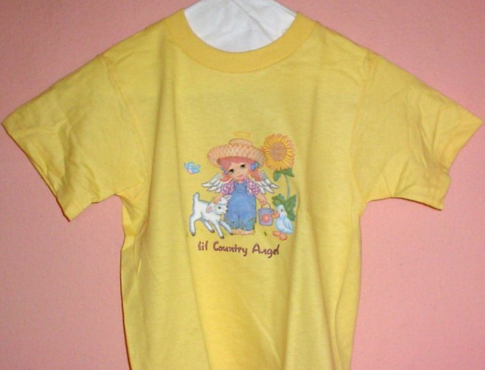 Girls tee shirt LIL COUNTRY ANGEL Size 2 - 4 Yellow cotton Top quality