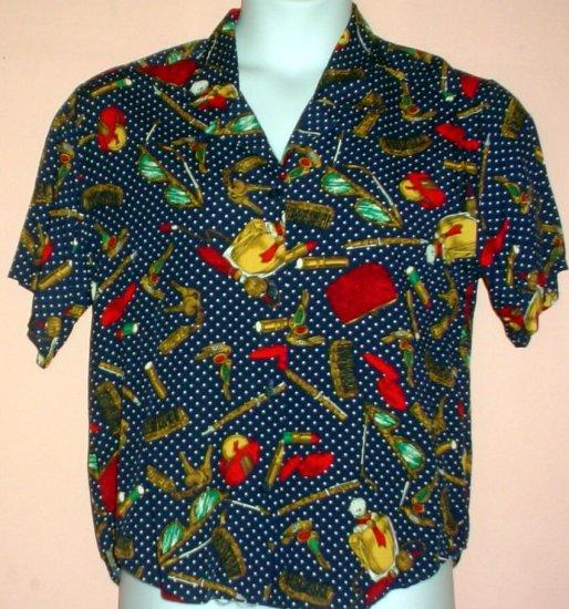 Womans shirt Rayon. Dark blue with purse contents motif. Pendleton Sopisticates Size 10