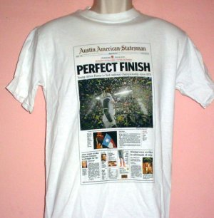New tee shirt 2006 Rose Bowl Texas Longhorns vs USC Trojans Front page Austin Newspaper Size Small