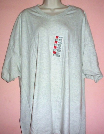 Hanes V neck tee shirt oatmeal gray cotton 3X