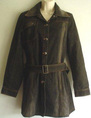 Lined  black denim jacket. Fitted. Zax Size medium M