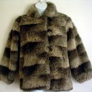 Vintage 80s fun fur jacket imitation racoon Sears size 14