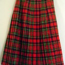 Pleated wool skirt Tartan plaid all wool Glenisla. Made in Scotland Size Junior 10 Waist 27 inches