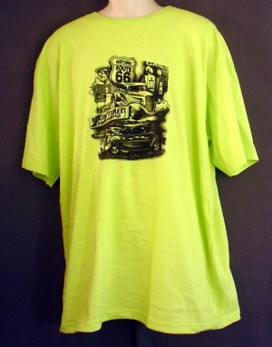 New route 66 tee shirt heavy duty cotton chartreuse xxl for Heavy duty work t shirts
