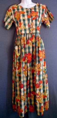 Full length Prarie Dress cotton Autumn leaves. Dogwood Lane label. Size small S