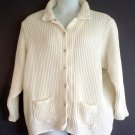 Plus size knited cardigan cotton, white, Roamans 3X size 20