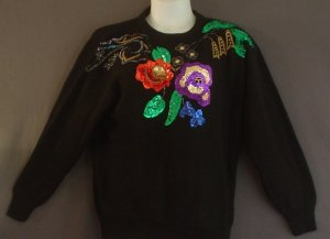Plus size knitted top sequins Cotton ramie Size 20 NEW