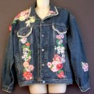 Denim jacket Floral aplique Gap Work Force label Size medium