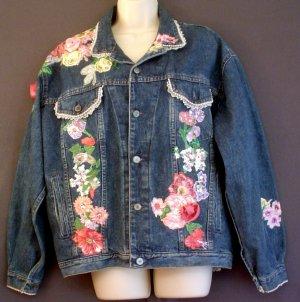 Denim jacket Floral aplique Gap Work Force label Size medium