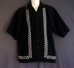 Embroidered  long tail shirt Latino style. Chicano Size small Cameron label